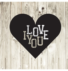 heart on wooden texture card vector image vector image