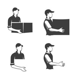 monochrome logo of a postman or longshoreman vector image vector image