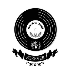 rock n roll forever vinyl vector image vector image