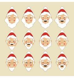 Santa Faces Set vector image