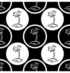 Seamless pattern islands with palm silhouettes vector image
