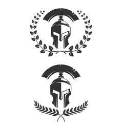 Set of the emblems templates with helmet Spartan vector image