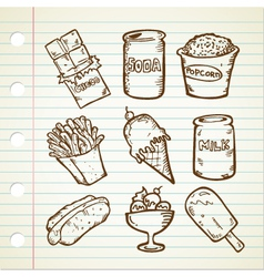 snack doodle collection vector image vector image