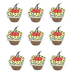 Stylized seamless pattern with muffins cupcake vector image