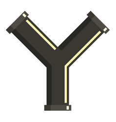 y joint pipe icon flat style vector image vector image