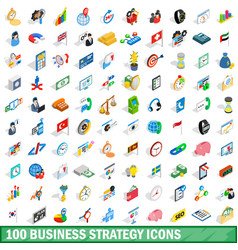 100 business strategy icons set isometric style vector image