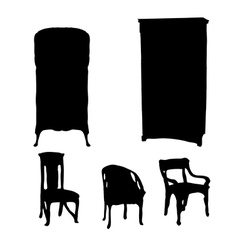 art nouveau furniture silhouettes vector image vector image