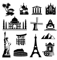 landmarks icons set vector image vector image