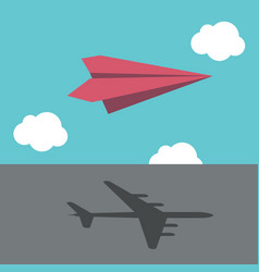 paper plane casting shadow vector image