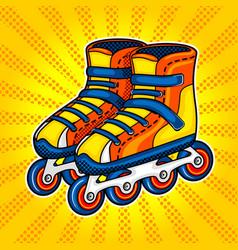 Roller skates comic book style vector