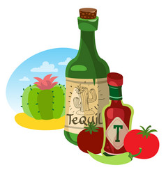 tomato ketchup and tequila hot sauce vector image vector image