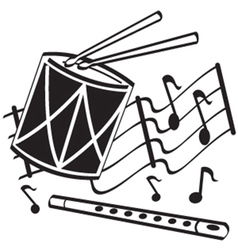 Drums and flute vector image