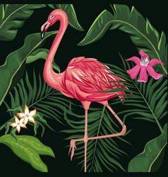 flamingo exotic tropical bird flower and leaves vector image vector image
