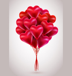 flying bunch of red balloon hearts valentines day vector image