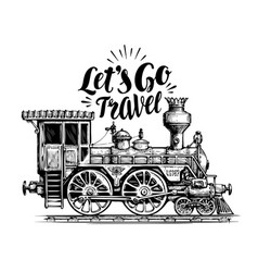 hand drawn vintage locomotive steam train vector image vector image