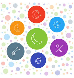 7 astronomy icons vector image