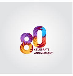 80 year anniversary elegant rainbow template vector