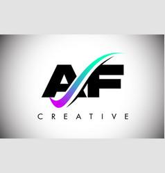 Af letter logo with creative swoosh curved line vector
