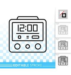alarm clock simple black line icon vector image