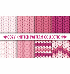 Baby pink knitted cozy pattern collection vector