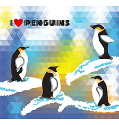 Background with penguins and a triangular design vector image