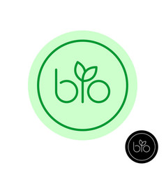bio text symbol with green leaves on letter i vector image
