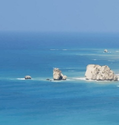 Blue sea sky and rocks vector