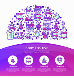 Body positive concept in half circle with thin vector
