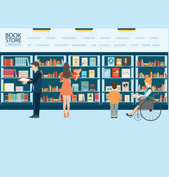 bookstore or library with bookshelves vector image