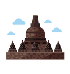 Borobudur flat icon indonesia and java vector