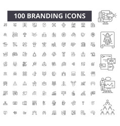 Branding editable line icons 100 set vector