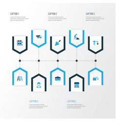 Building colorful icons set collection of wall vector
