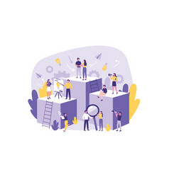 business concept teamwork cooperation big team of vector image