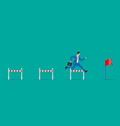 Businessman with briefcase runs on obstacle course vector