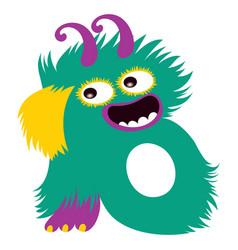 cartoon capital letter b from monster alphabet vector image