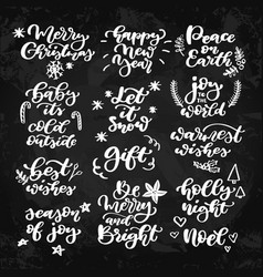 Christmas chalk lettering set on blackboard vector