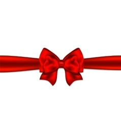 Christmas red gift bow with ribbon vector image vector image