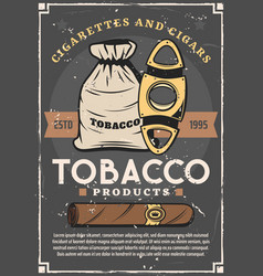 cigarette sack with tobacco leaves cut scissors vector image