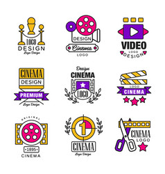 Cinema logo design set video symbols in retro vector