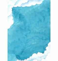 Cloud sky at night time border watercolor vector