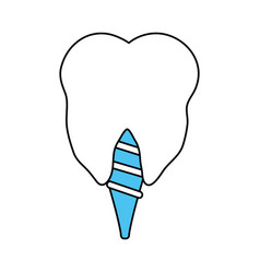 Color silhouette cartoon dental implant icon vector