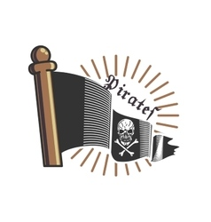 Color vintage pirate emblem vector
