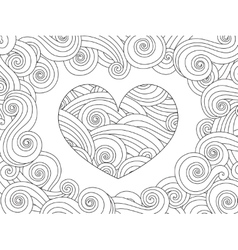 Coloring page with heart and wave curly ornament vector image