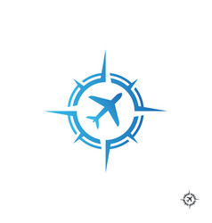 compass with plane for transport or travel logo vector image