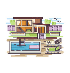 country house with swimming pool vector image