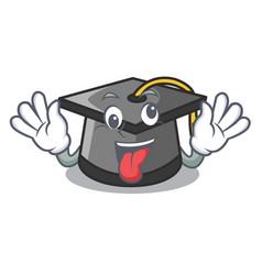 Crazy graduation hat mascot cartoon vector