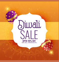 Creative diwali sale banner with crackers vector