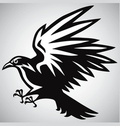 Crow logo black and white vector