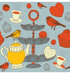 Cupcake and birds seamless pattern design vector image