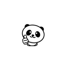 Cute panda asian bear showing like thumb of hand vector